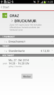 Screenshot of ÖBB Tickets