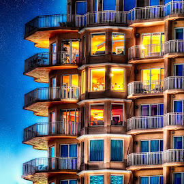 condos at vinoy at night by Dave Lyons - Buildings & Architecture Other Exteriors ( condos, hdr, florida, d90, sunset, st petersburg, nikkor 18-200mm vr, night, nikon, vinoy )