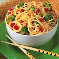 Broccoli Noodle Salad with Asian Peanut Citrus Sauce