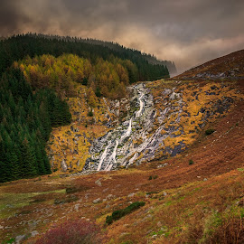 Autumn Waterfall by Piotr Dominiak - Landscapes Mountains & Hills ( wicklow mountains, ireland, waterfall, piotr dominiak, glenmacnass waterfall, military road )