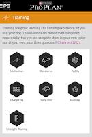 Screenshot of Pro Plan P5 Dog Training App