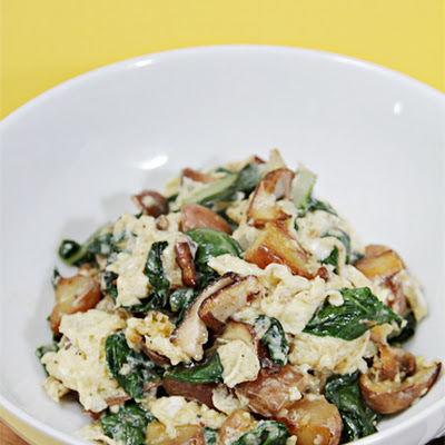 Scramble with Fontina, Shiitakes, Chard and Fingerling Potatoes