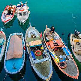 Kusadasi fishermen's boats by Murat Besbudak - Transportation Boats ( aegean sea, sea, kusadası, boat )