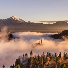 Mystical Sunrise & Lake in Mountains by Aleš Krivec - Landscapes Sunsets & Sunrises ( water, church, beautiful, white, lake, island, mountains, winter, tree, nature, fog, bled, castle, mist )
