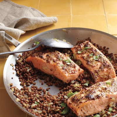 Mustard-Glazed Salmon with Lentils
