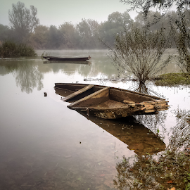 Crashed by river by Oliver Švob - Instagram & Mobile Android ( instagram, river scene, river kupa, boats, boat, wooden boat, sony, sony xperia, foggy, fog, kupa, misty, river, mobile,  )
