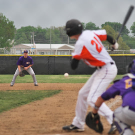 Down the Line by Towle Owen - Sports & Fitness Baseball ( first base, ball, high school, baseball, batter )