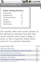 Screenshot of Career Personality Test