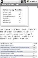 Screenshot of Career Personality Test