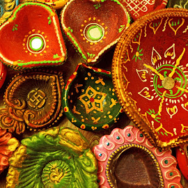 colourful lamps!! by Srivenkata Subramanian - Artistic Objects Cups, Plates & Utensils ( colour, lamps, diwali, festival of lights, assorted, india )