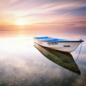 Floating Alone by Eggy Sayoga - Landscapes Sunsets & Sunrises ( bali, reflection, indonesia, beach, sunrise )