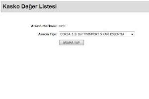 Screenshot of Kasko Deger Listesi