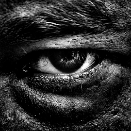 An eye by Roman Kolodziej - People Body Parts ( body, macro, black and white, anger, darkness, eye )