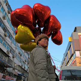 Love is in the air by Francisco  Little - City,  Street & Park  Street Scenes ( love, valentines, beijing, romance, ballon,  )