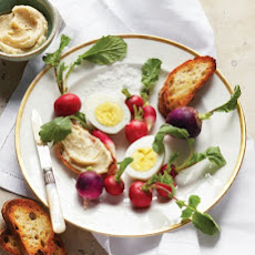Hard-Cooked Eggs with Radishes and Anchovy-Butter Crostini