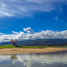 Heaven on Earth by Istiak Saikot - Landscapes Cloud Formations ( clouds, reflection, mountains, nautre, bangladesh, blue sky, sky, heaven, hut, sylhet, river,  )