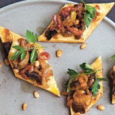 Robust Caponata Spooned Onto Panelle