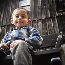 by Brian Ham - Babies & Children Child Portraits ( farm, buggy, barn, jeans, wagon, rustic, boy )