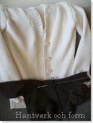Min nästan färdiga vita kofta och lille M:s tröja
