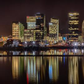 Oslo night by John Einar Sandvand - City,  Street & Park  Skylines ( oslo, norway )