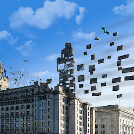 Fly Away by Lee Harrison - Digital Art Places ( bird, flight, fly, liverpool, breaking apart, blocks, fly away, liver birds )