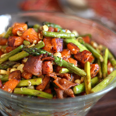 Asparagus, Bacon, Corn and Sweet Potato Skillet