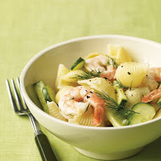 Shrimp Pasta Salad with Cucumber and Dill