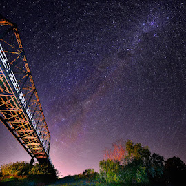 Twilight Zone by Jeff Aranas - Landscapes Starscapes ( jeff aranas, milkyway, stars, star trail, bridge, nightscape )