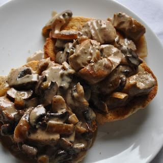 Chicken and Mushrooms on Toasts