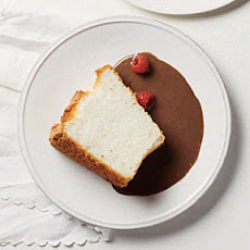 Vanilla Angel Food Cake with Chocolate Sauce