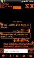 Screenshot of Orange Neon theme GO SMS Pro