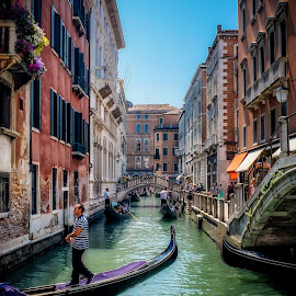 Venetian Canal by Craig Boudreaux - City,  Street & Park  Street Scenes ( gondola, venice, travel, italy, canal )