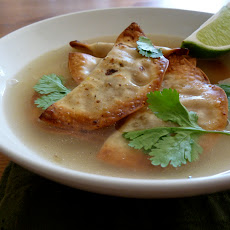 Crispy Butternut Ravioli in Jalapeno Broth