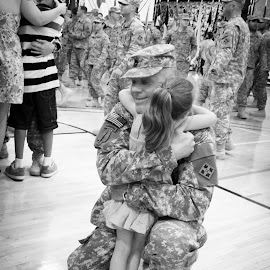 Daddy's Home!  by Charlotte Harloff - News & Events Politics ( homecoming, welcome home, portrait, military )