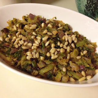 Lemony Shaved Brussels Sprouts with Pine Nuts