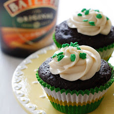 Chocolate Stout Cupcakes with Bailey's Irish Cream Cheese Frosting