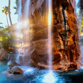 Sunrise on Waterfall by Jim Downey - City,  Street & Park  Fountains ( water feature, las vegas, manmade waterfall, hotel, entrance )