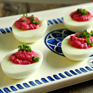 Red Horseradish Deviled Eggs