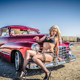 Beauty and the Lac by Cali Original - Transportation Automobiles ( lowrider, sexy, model, lingerie, cadillac )