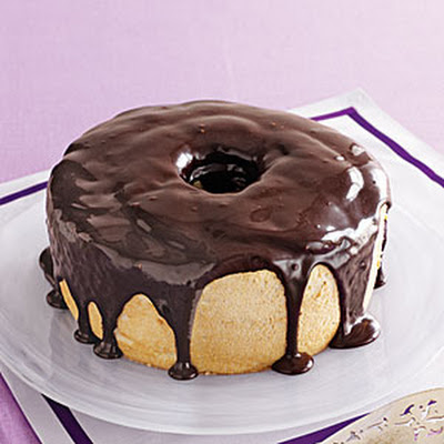 Coffee Angel Food Cake with Fudge Glaze
