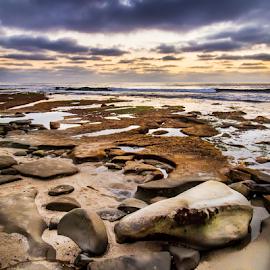 Low Tide by Gary Kasl - Landscapes Beaches ( clouds, san diego, sky, purple, sunset, beautiful, beach, la jolla, rocks )