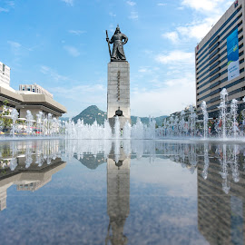 Admiral Statue South Korea by Nikon Guy - Buildings & Architecture Statues & Monuments ( water, reflection, statue, seoul, admiral, south korea )