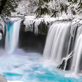 Spirit Falls by Christian Flores-Muñoz - Landscapes Waterscapes ( washington, waterfalls, wintery. winter, gorge, snow, spirit falls )