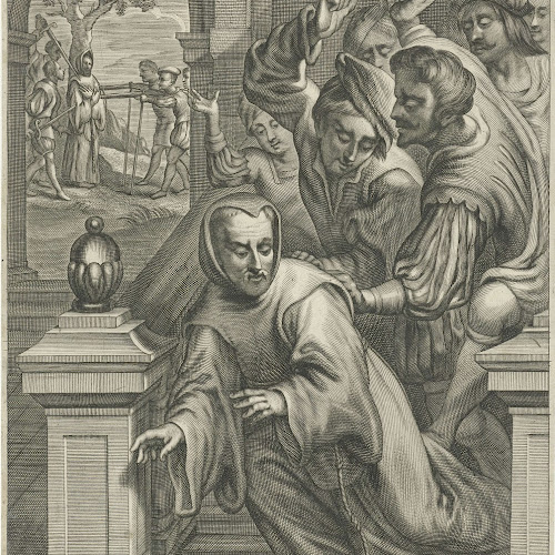 Adriaen Millaert (1645-68): Eustachius Avril ble kastet ned en trapp av kalvinister og drept