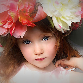 Beautiful Flower Girl by Cheryl Korotky - Babies & Children Child Portraits ( girl, red hair, a heartbeat in time photography, halo, amazing faces, blue eyes, beautiful children, child model nevaeh, flower crown, pretty, portrait )