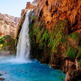 Havasu Fall by F Jin - Landscapes Waterscapes ( havasupai, water fall, havasu fall )
