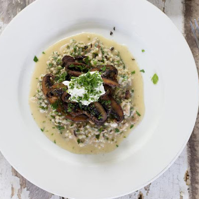 Mushroom Buckwheat Risotto With Goats Curd