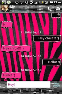 GO SMS - Pink Zebra - screenshot
