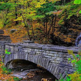 by Brooks Travis - City,  Street & Park  City Parks ( water, stream, arch, waterfall, stone, leaves, stack stone, stairs, foliage, state park, creek, fall, mortar, grand canyon east, walk )