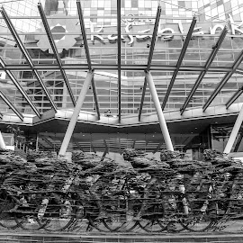 go...go...go... by Sucipto Darmaputra - Buildings & Architecture Office Buildings & Hotels ( bicycles, black and white, bw )